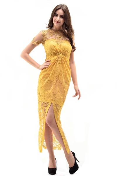 Asky yellow dress kebaya sm