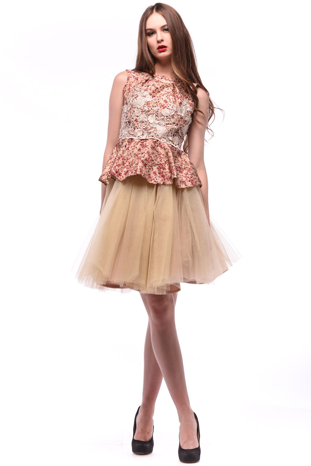 Brownish with Tulle Skirt