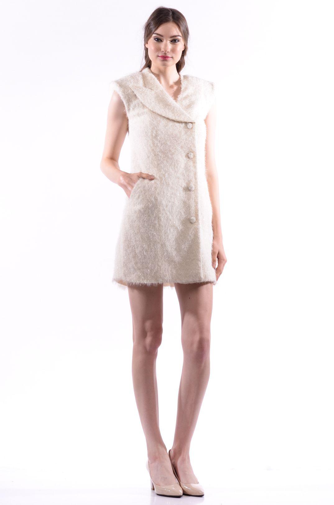 Feux Fur Button Down Dress